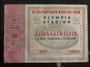 1936 Berlin Olympiques Allemagne Admission Billet Jesse Owens Long Jump 8s2D6NT0-07150419-250483604