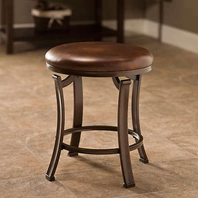 Superb New Brown Leather Backless Vanity Bathroom Counter Stool Polished Bronze Finish Ebay Short Links Chair Design For Home Short Linksinfo