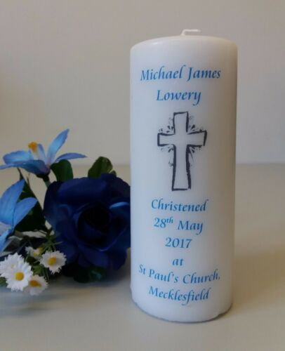available in 2 sizes Personalised Christening Candle with Cross design