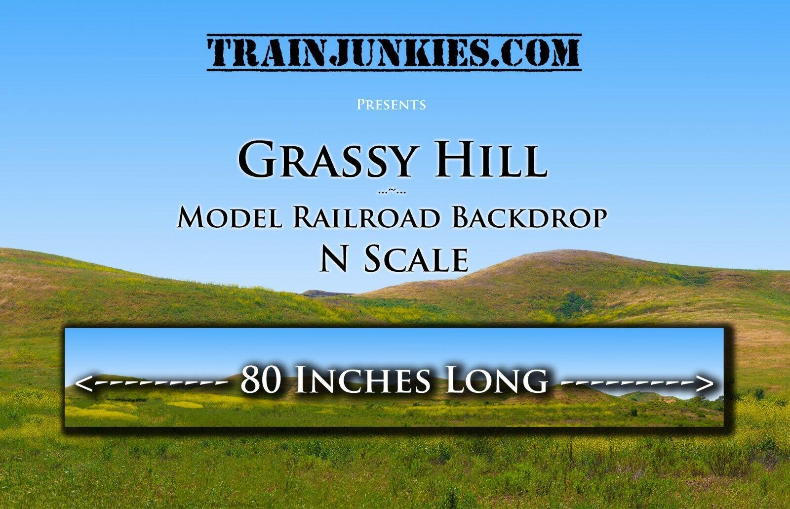 Tren Junkies N scale  hierbas verdes Hill  modelo del ferrocarril telón de fondo 12 x80