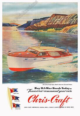 Chris Craft Boats 1945 WWII-era Vintage Poster