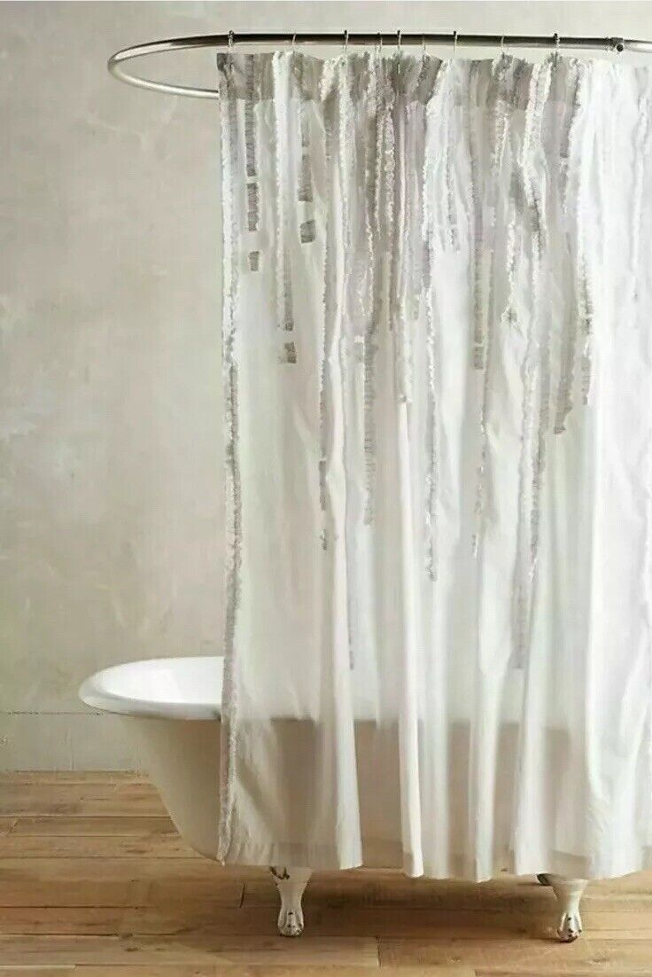 Anthropologie Draped Wisteria Shower Curtain White Cotton Vertical Ruffles 72
