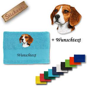 Wunschtext Hunde Vornehm Beagle M1 Hund Handtuch Duschtuch Baumwolle Stickerei Bestickt