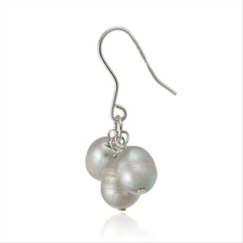 925 Silver Gray Freshwater Cultured Pearl Cluster Dangle Earrings