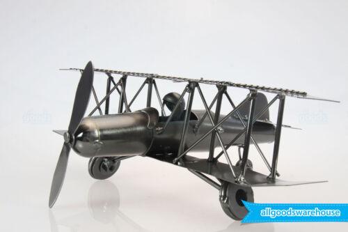 NEW Scrap Metal Handmade Nuts /& Bolts Vintage Bi-Plane with Pilot Aircraft Model