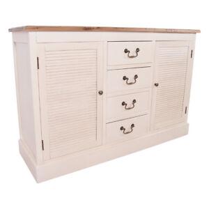 Details zu Sideboard Bretagne Holz Landhaus Stil Kommode Schrank Küche  creme weiß