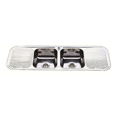 1500 x 500 x 180 mm Square Double Drainer & Bowl Kitchen Sink Stainless Steel