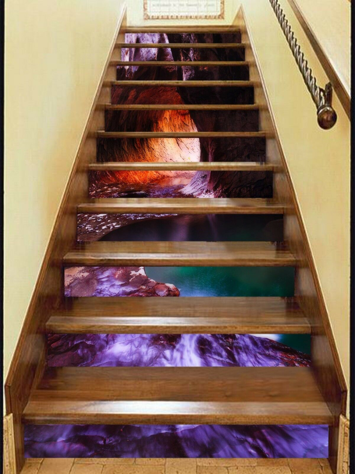 3D Höhlensee 283 Stair Risers Dekoration Fototapete Vinyl Aufkleber Tapete DE