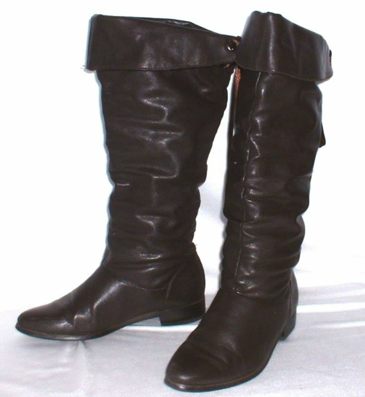 Cuero genuino botas con sobre sobre sobre golpe  marrón oscuro Gr. 37  vintage botas de cuero  venta mundialmente famosa en línea