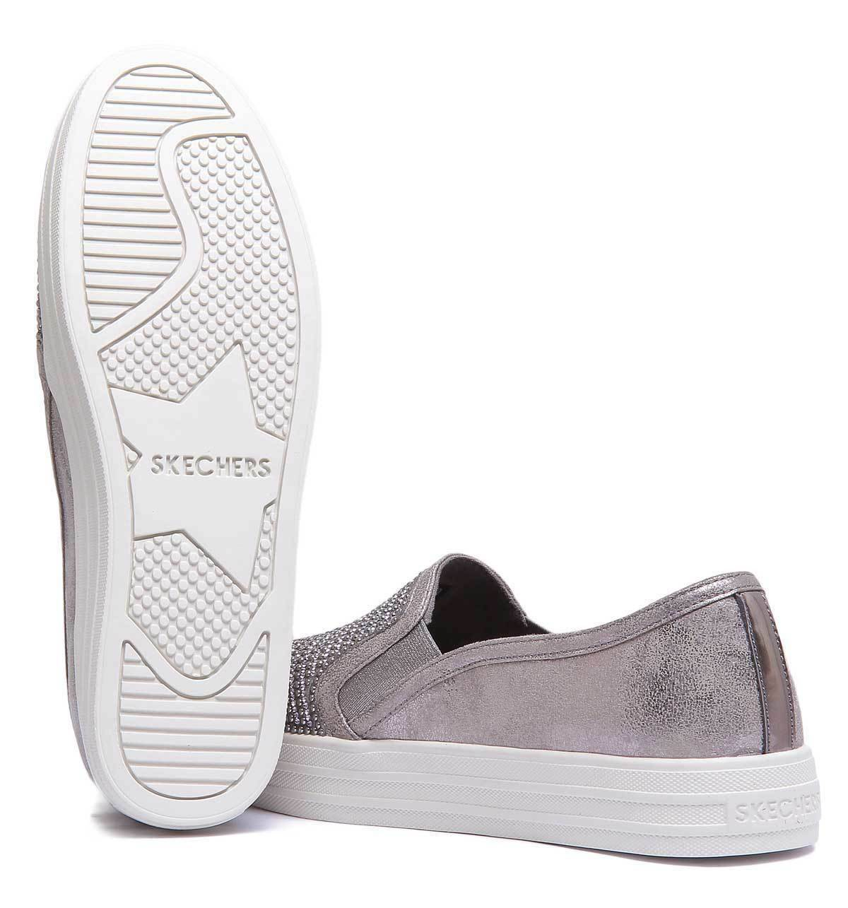 Skechers Double Up Womens Pewter Pewter Womens Synthetic Trainer e075a0