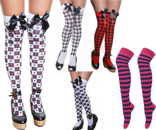 Womens Over Knee Wonderland Stockings Red Queen Alice Cards Bow Cheshire Socks