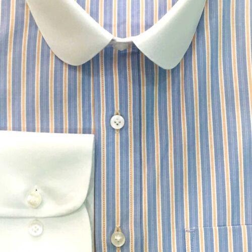 Mens Penny collar Peaky Blinders shirt Blue Orange stripes Bankers Round Gents