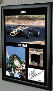 Jim-Clark-Lotus-F1-World-Champion-Framed-Canvas-Print-Signed-034-Great-Gift-034