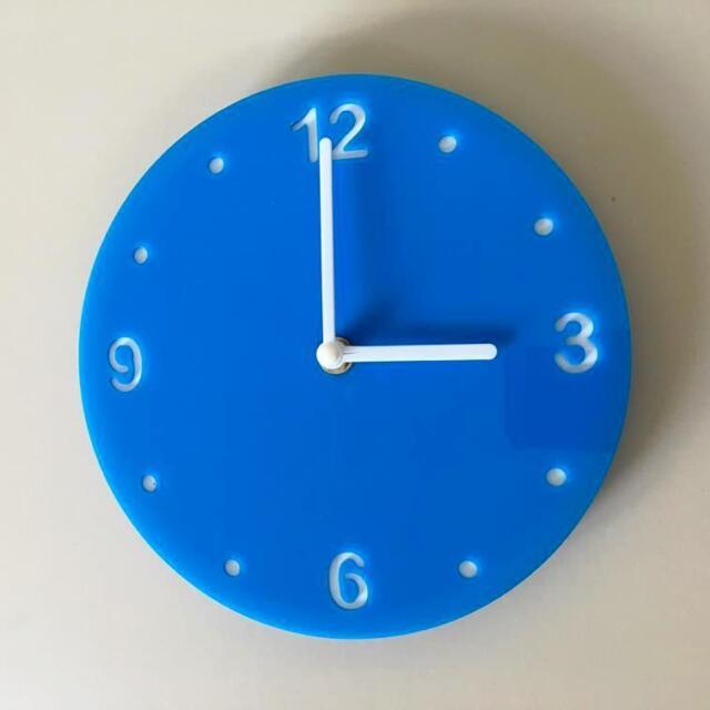 Rond Clair Bleu & Blanc Horloge Renforcé Mains Balayage Silencieux Mouvement