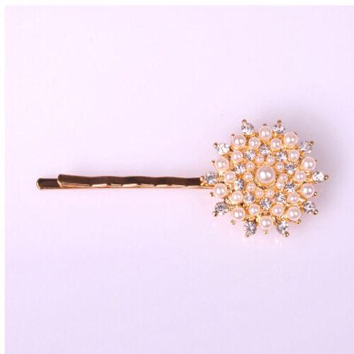 2pcs Women Bow Hairpin Flower Pearl Barrette Crystal Rhinestone Hair Clip New