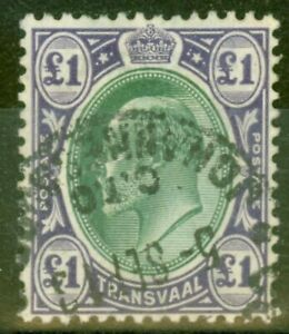 Transvaal-1908-1-Green-amp-Violet-SG272-Fine-Used-C-T-O