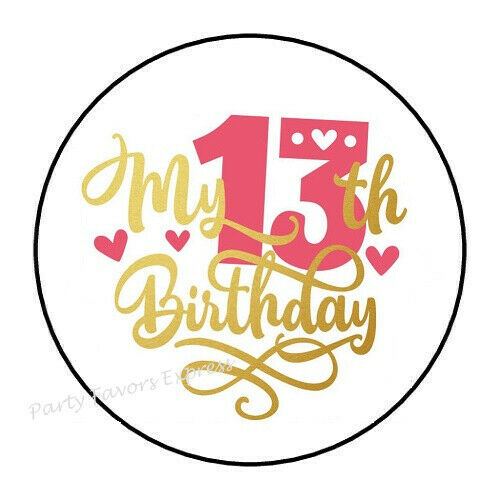 """30 MY 13TH BIRTHDAY ENVELOPE SEALS LABELS STICKERS PARTY FAVORS 1.5/"""" ROUND"""
