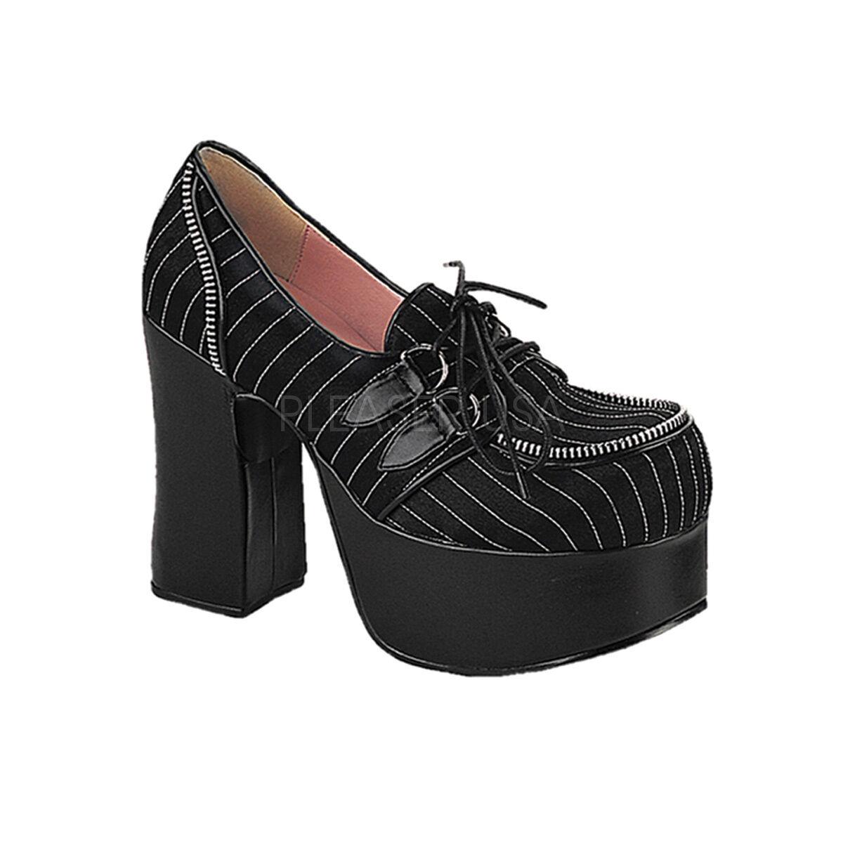 all'ingrosso a buon mercato Demonia farsa - 12 12 12 Goth Punk Lolita Nero Bianco eyelette Cinturino Scarpe Mary Jane  prezzo ragionevole