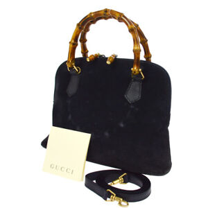 078c84a5bdd Authentic GUCCI Bamboo Handle 2way Hand Bag Navy Suede Italy Vintage ...