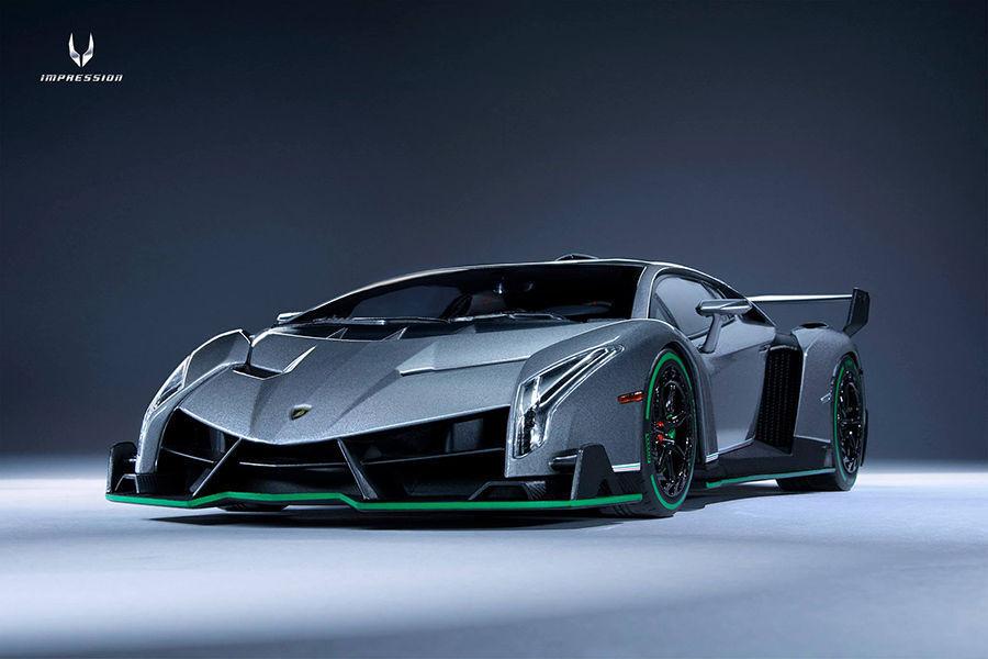1 18 Kyosho Lamborghini Veneno gris con verde