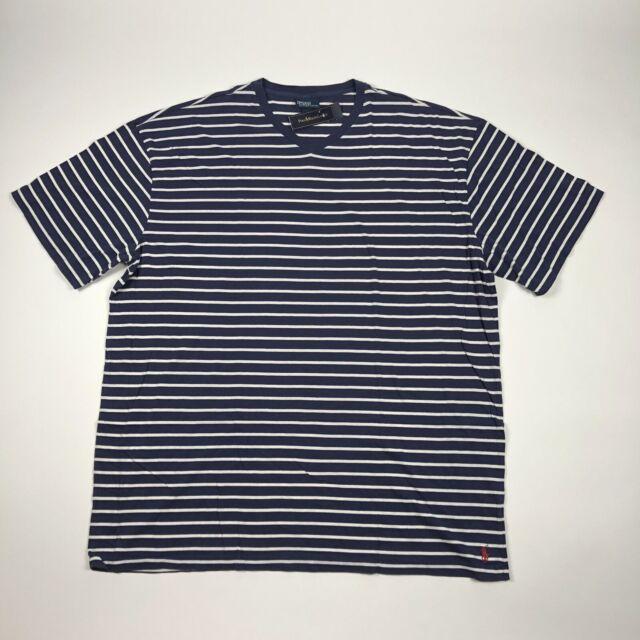 Polo Ralph Lauren Mens 3XLT Tall V-Neck Striped Short Sleeve T Shirt Blue White