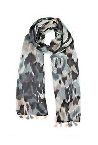 Grey-Black-White-Red-Modern-Abstract-Pattern-Tassel-Tassels-Scarves-LilyRosa