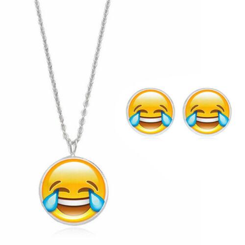 ladies silver kids gift jewellery EMOJI novelty dangle earring necklace set JJ31
