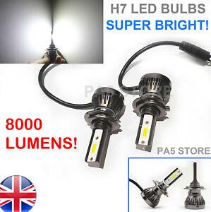 2x-Bombillas-LED-Faros-H7-8000-Lumens-Luz-Brillante-COB-Xenon-Blanco-6000K-12V-coche