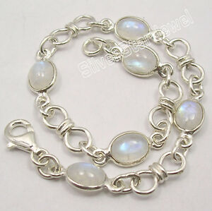 925-SOLID-Silver-Fiery-RAINBOW-MOONSTONE-Beautiful-KNOT-Bracelet-8-Inches