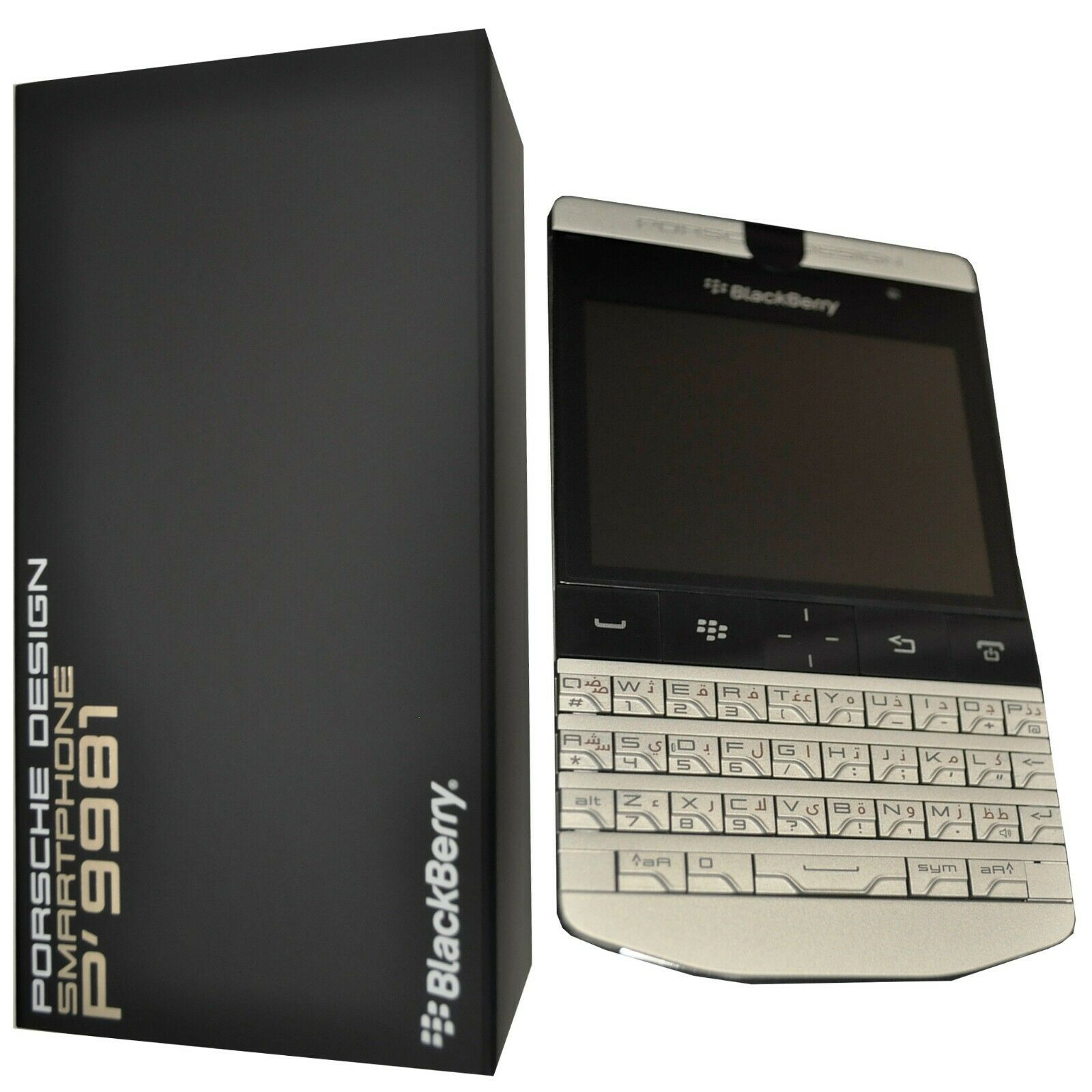 New BlackBerry Porsche Design P9981 QWERTY+Arabic Dark Platinum Factory Unlocked