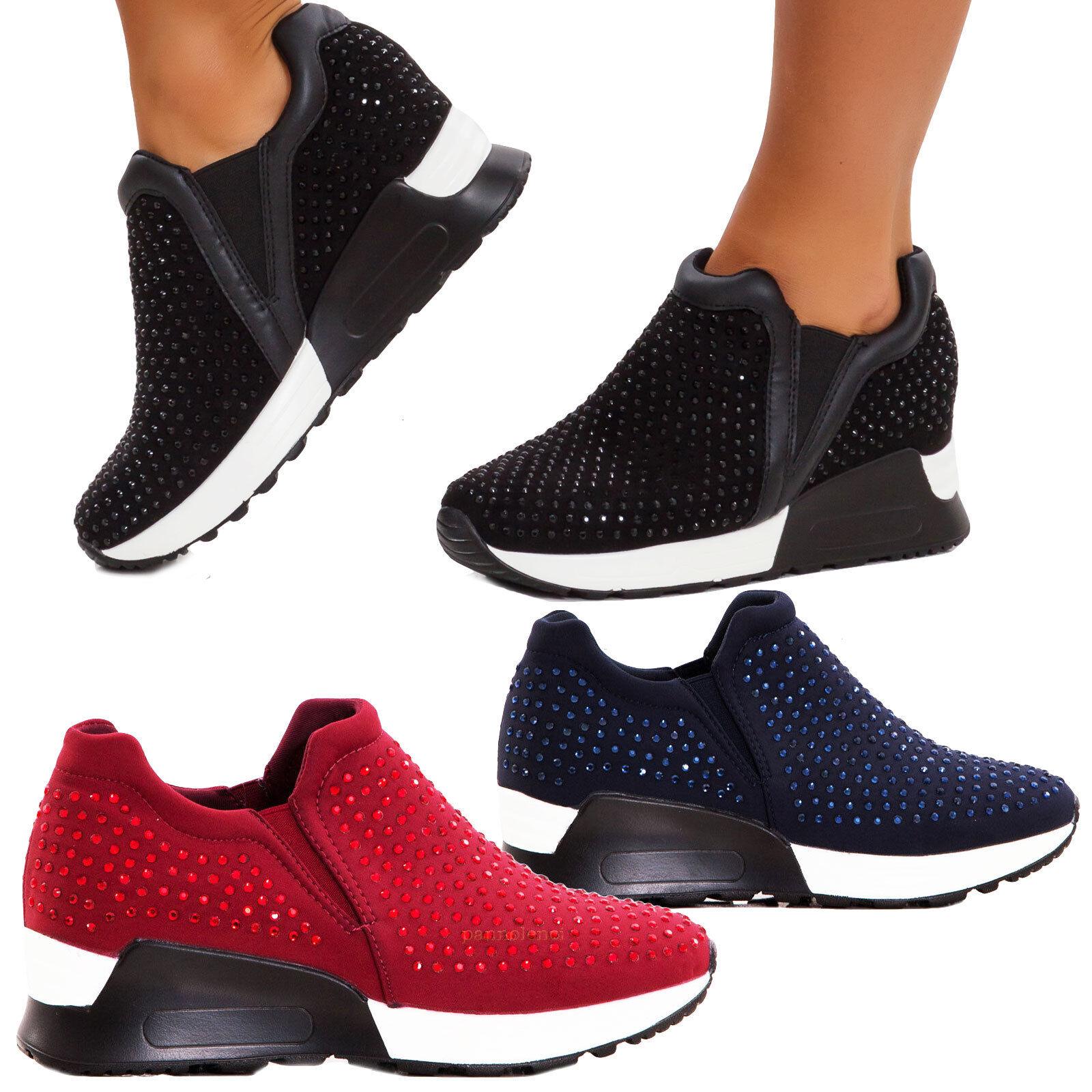 women Zapatillas de Deporte Ponerse Pedrería Nuevos Ixx6042-1