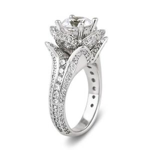 410ct Round White Lotus Flower Diamond Engagement Ring Certified