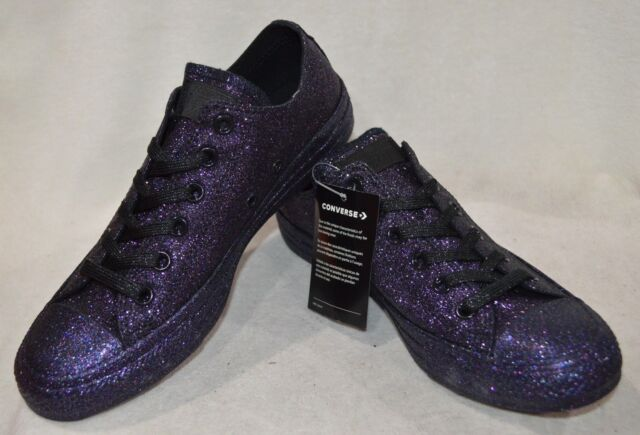 Converse CT All Star OX BlackGrape Glitter Women Sneakers Size 13 NWOB 162992C