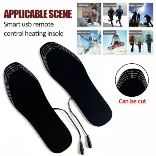 USB Rechargeable Heated Insoles Foot Warmer Heater Charging Heat Boots Shoes Pad