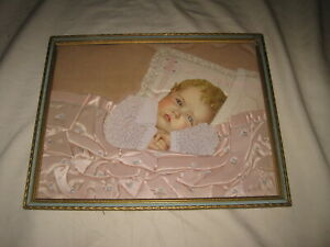 Framed Print of Sleeping Baby with Real Clothes and Blanket Vintage Mixed Media