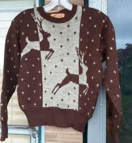 Vtg 40s JANTZEN 100% Wool Ski Deer Sweater Sz 36 R