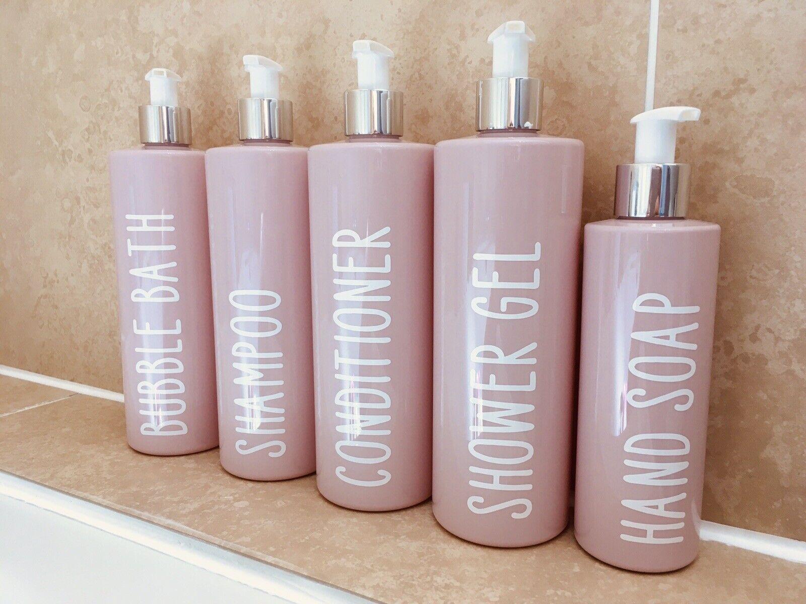5x Personalised Pink Dispenser Bottles Set Shampoo Conditioner Shower Gel