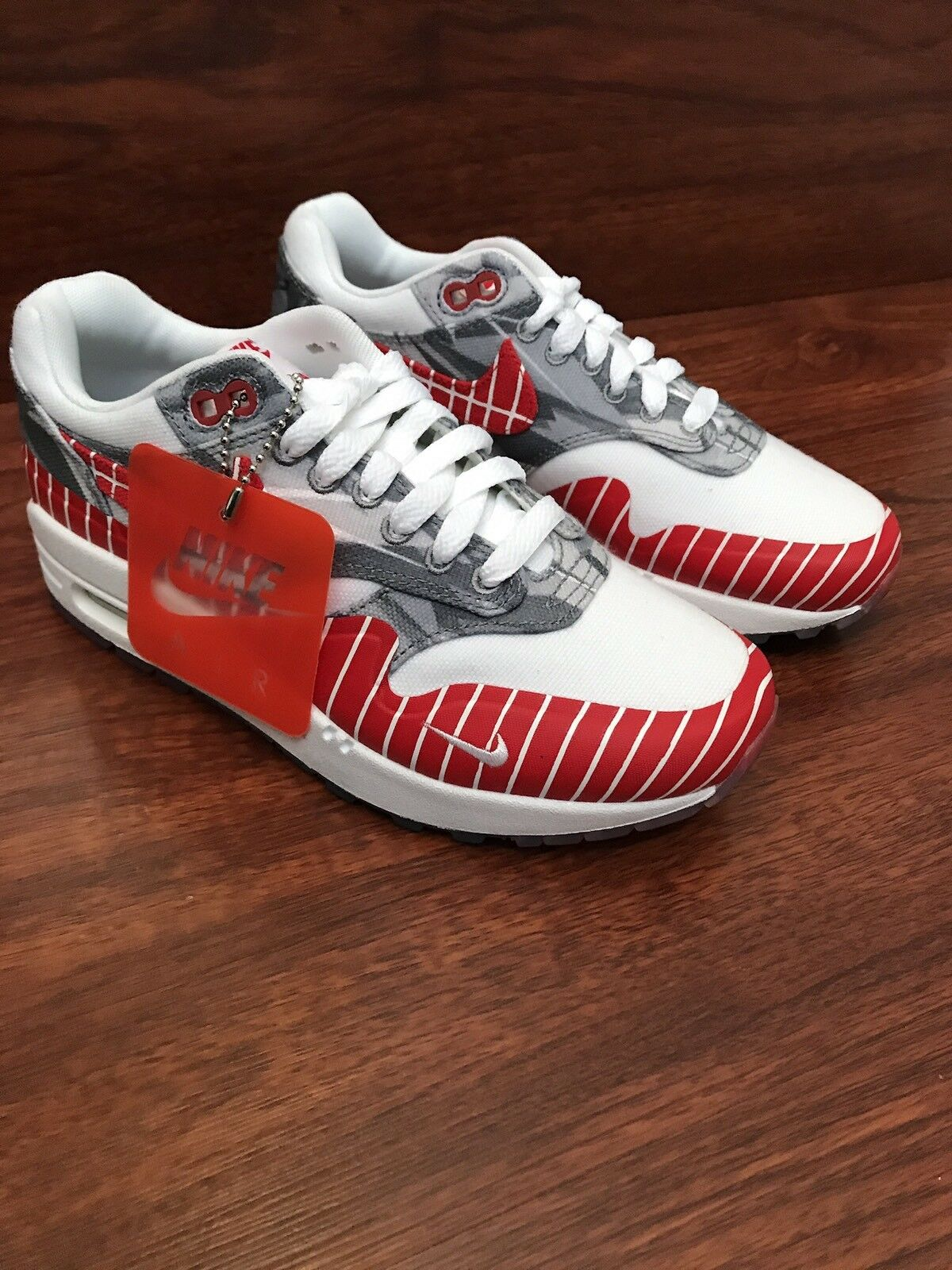 Nike Air Max 1 LHM Los Primeros Running Shoes White Red AH7740-100 Mens Size 4