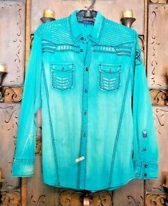 Roar-Teal-Signature-Long-Sleeve-Button-Up-Shirt-Size-Medium