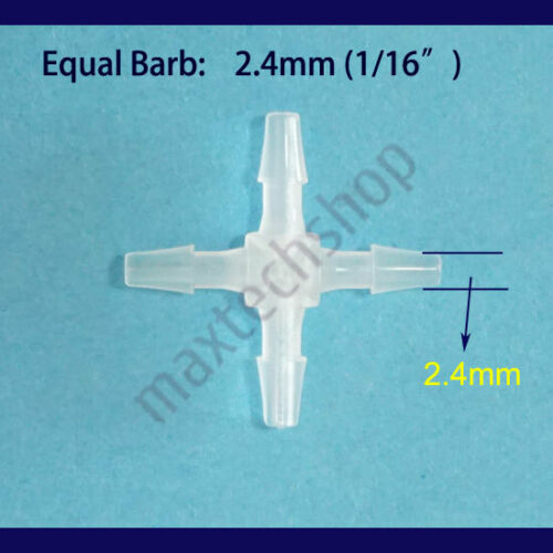 """1//16/"""" CROSS 4-Way Plastic Hose Barb Tube Pipe Fitting Connector Adapter XY 2mm"""