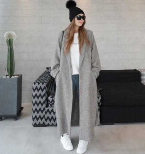 Chic Women New Thick Baggy Lapel Maxi Long Trench Coat Wool Blend Outdoor Jacket