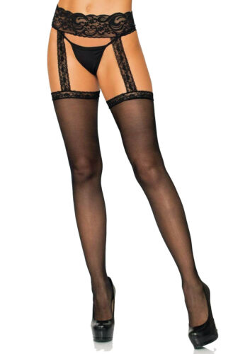 20767 Sheer Stockings With Attached Lace Garter Belt