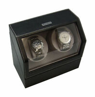 Heiden Battery Powered Or A/c Dual Watch Winder - Black Leather Model Hd0010