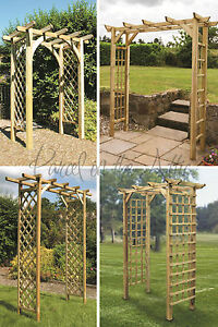Image Is Loading Square Flat Top Wooden Garden Arch Trellis Sides