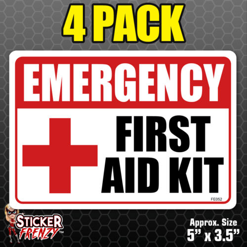 4 Pack EMERGENCY First Aid Kit Stickers Heath Safety Vinyl Decals 1st #FS052