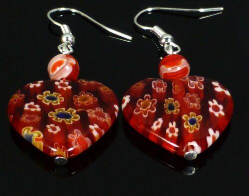 Red Love Heart Earrings Crystal Glass Millefiori Sterling Silver