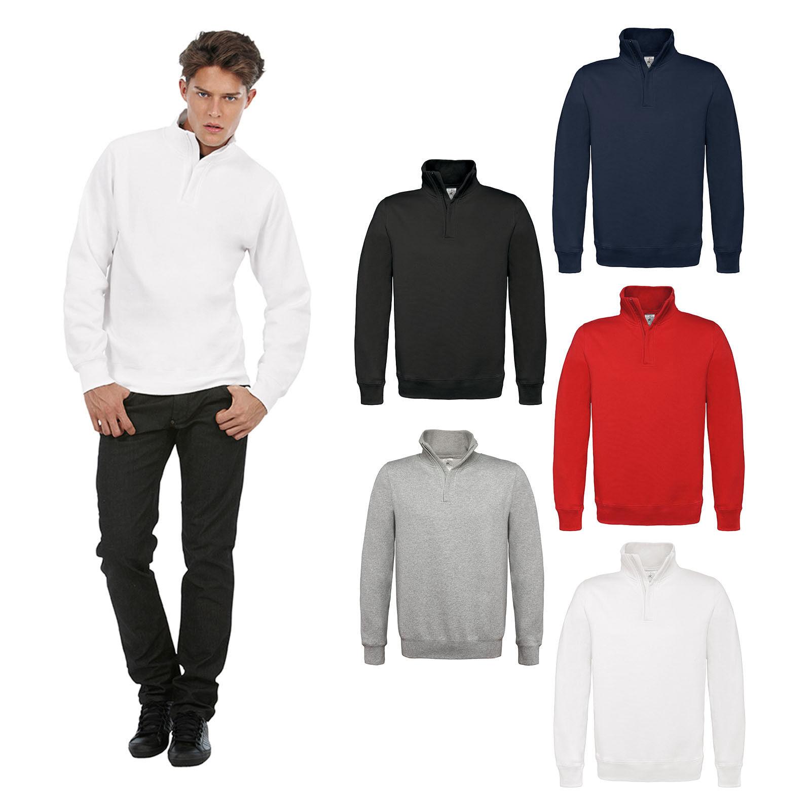B&C Collection ID.004 1 4 Zip Sweatshirt WUI22 -Fleece Collar Jumper Warm Casual