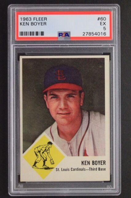 1963 Fleer Ken Boyer (d.1982) #60 St Louis Cardinals Baseball Card PSA 5