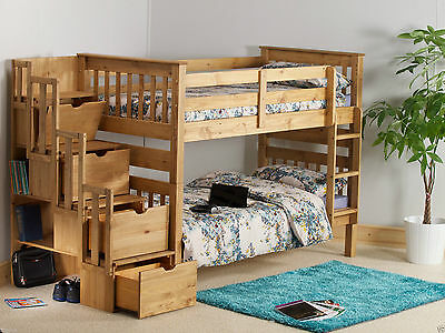 Staircase Bunk Bed Wooden Pine 3ft Childrens Kids Drawers/ Mattress Option