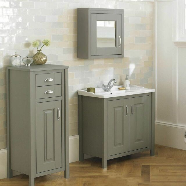 Chiltern Stone Grey 800mm Traditional Freestanding Vanity Unit